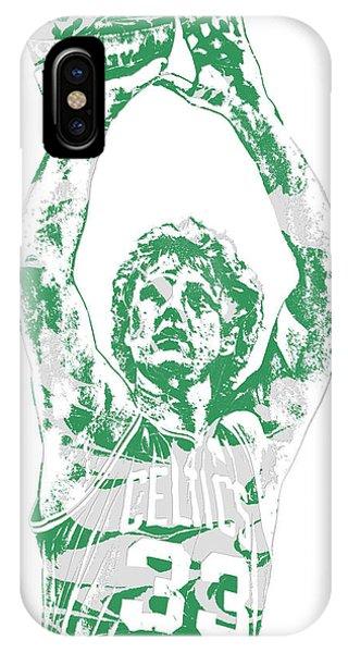 Celtics iPhone Case - Larry Bird Boston Celtics Pixel Art 5 by Joe Hamilton
