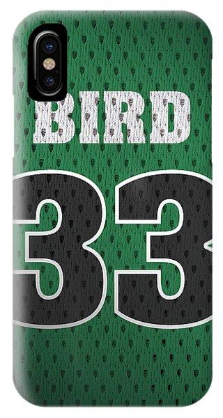 Celtics iPhone Case - Larry Bird Boston Celtics Retro Vintage Jersey Closeup Graphic Design by Design Turnpike