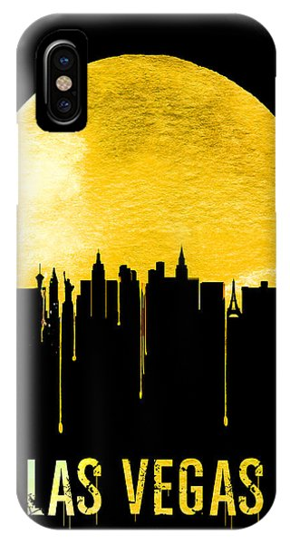 Las Vegas iPhone X Case - Las Vegas Skyline Yellow by Naxart Studio
