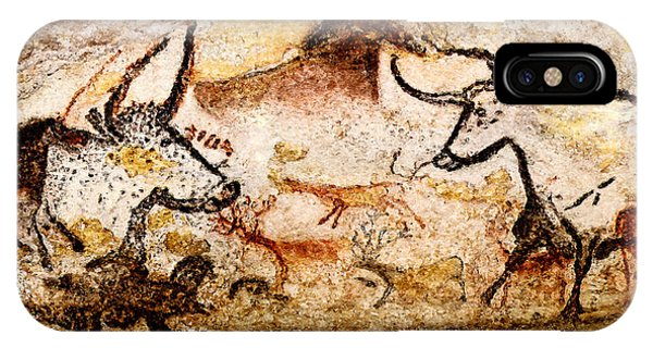 Lascaux Hall Of The Bulls - Deer And Aurochs IPhone Case