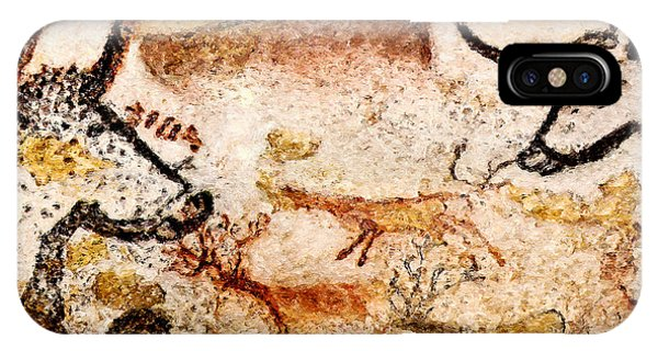 Lascaux Hall Of The Bulls - Deer Between Aurochs IPhone Case
