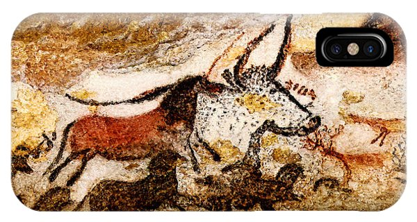 Lascaux Hall Of The Bulls - Horses And Aurochs IPhone Case