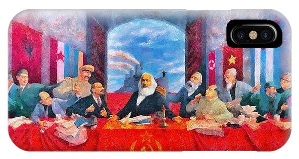 Capitalism iPhone Case - Last Communist Supper 30 - Da by Leonardo Digenio