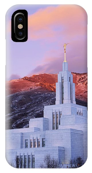 Temple iPhone Case - Last Light At Draper Temple by Chad Dutson