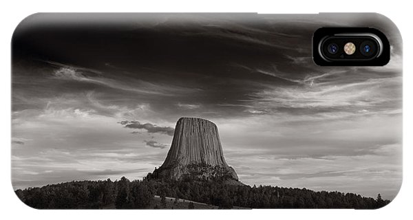 Last Light On Devils Tower Bw IPhone Case