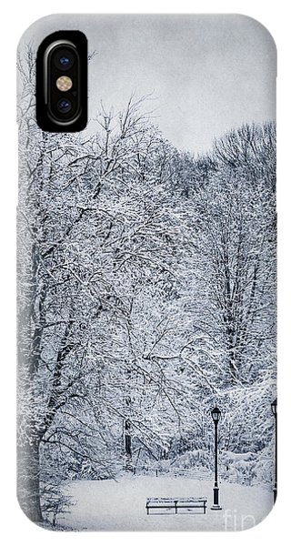 Park Bench iPhone Case - Last Winter's Dream by Evelina Kremsdorf