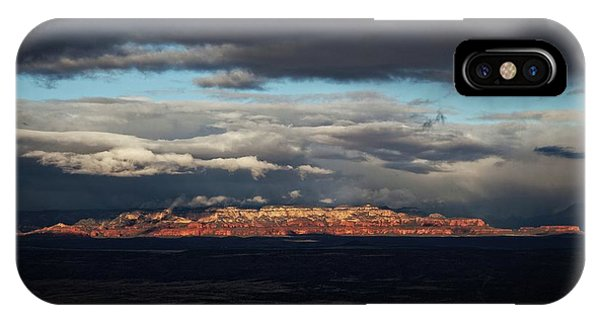 Late Light On Red Rocks With Storm Clouds IPhone Case