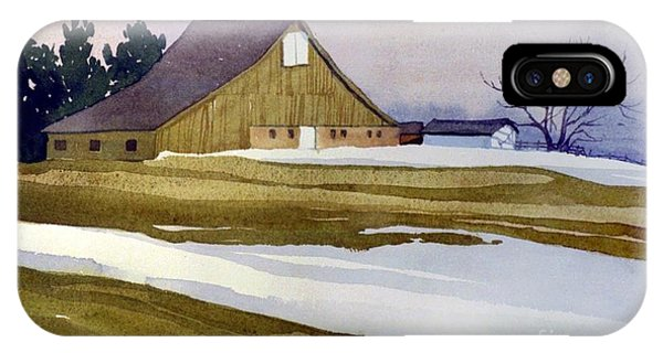Barn Snow iPhone Case - Late Winter Melt by Donald Maier