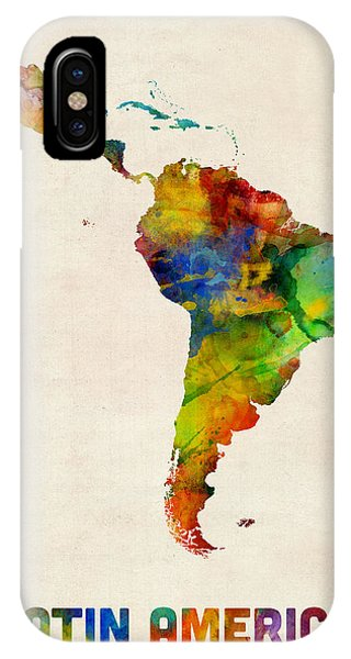 American iPhone Case - Latin America Watercolor Map by Michael Tompsett