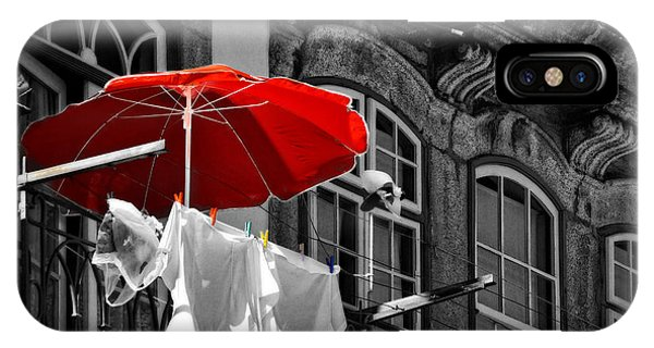 Laundry With Red Umbrella In Porto - Portugal IPhone Case