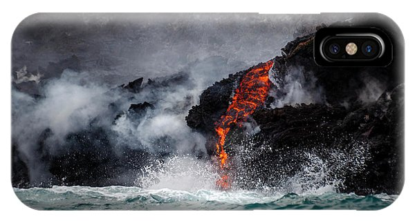 Lava Dripping Into The Ocean IPhone Case