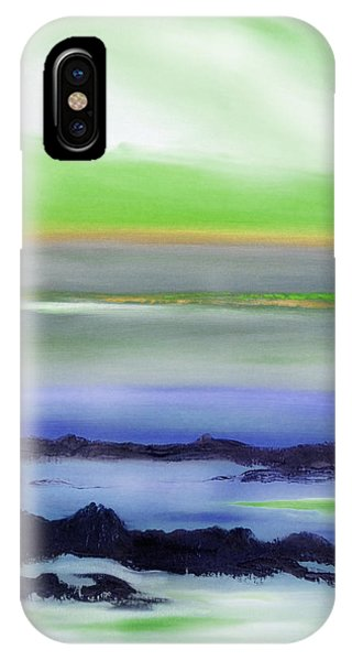 Lava Rock Abstract Sunset In Blue And Green IPhone Case