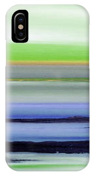 Lava Rock Panoramic Sunset In Green And Blue IPhone Case