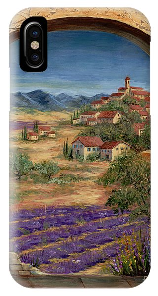 Arched iPhone Case - Lavender Fields And Village Of Provence by Marilyn Dunlap