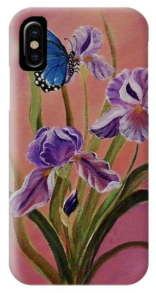 Lavender  Iris With Butterfly IPhone Case