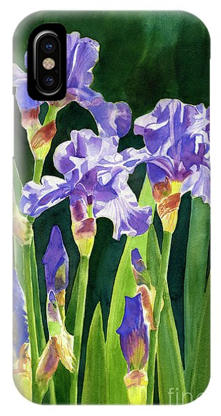 Dark Violet iPhone Case - Lavender Irises And Buds With Background by Sharon Freeman