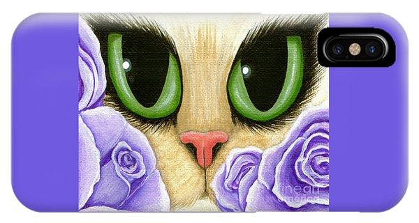 Lavender Roses Cat - Green Eyes IPhone Case