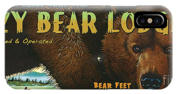 License iPhone Case - Lazy Bear Lodge Sign by JQ Licensing