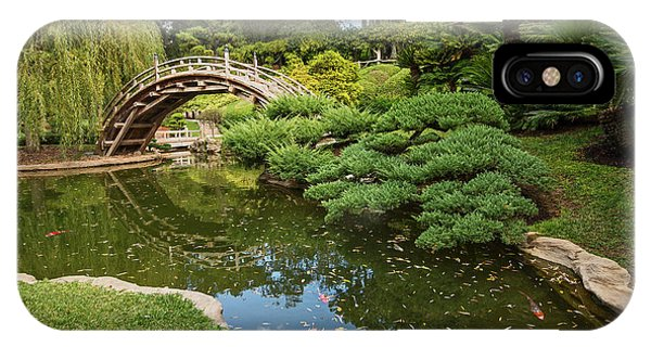 Bridge iPhone Case - Lead The Way - The Beautiful Japanese Gardens At The Huntington Library With Koi Swimming. by Jamie Pham