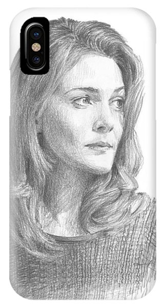 Leah Hager Cohen Pencil Portrait Phone Case by Mike Theuer