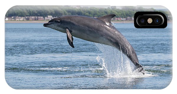 IPhone Case featuring the photograph Leaping Dolphin - Moray Firth, Scotland by Karen Van Der Zijden
