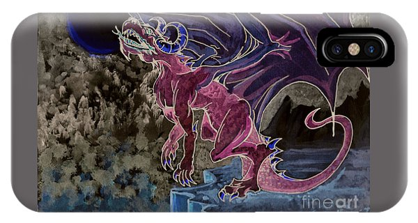 IPhone Case featuring the mixed media Leaping Dragon 2 by Reed Novotny