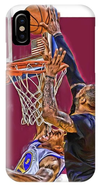 James iPhone Case - Lebron James Cleveland Cavaliers Oil Art by Joe Hamilton