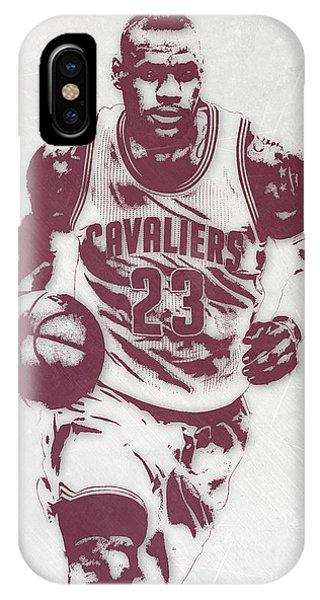 Tickets iPhone Case - Lebron James Cleveland Cavaliers Pixel Art 4 by Joe Hamilton