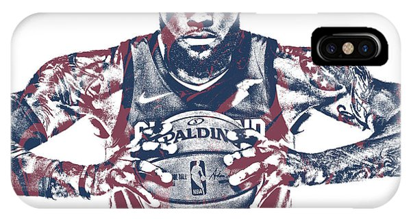 Tickets iPhone Case - Lebron James Cleveland Cavaliers Pixel Art 54 by Joe Hamilton