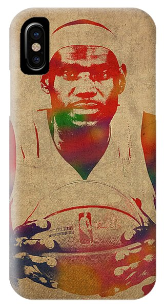 787381de2522 Lebron James iPhone Case - Lebron James Watercolor Portrait by Design  Turnpike