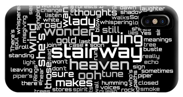 Rock And Roll Jimmy Page iPhone Case - Led Zeppelin - Stairway To Heaven Lyrical Cloud by Susan Maxwell Schmidt
