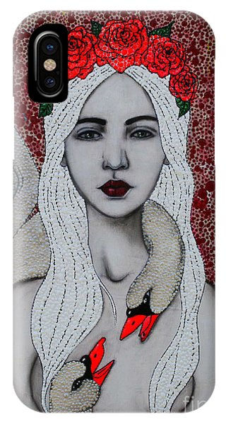 IPhone Case featuring the mixed media Leda And The Swans by Natalie Briney