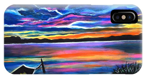 Left Alone A Seascape Boat Painting At Sunset  IPhone Case