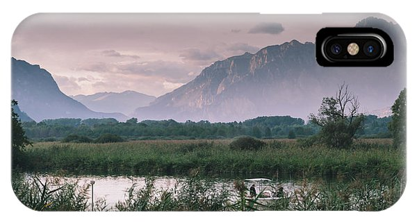 Leisure Boat On River Adda In Northern Italy, Close To Lake Como - Reflection Of Italian Alps IPhone Case