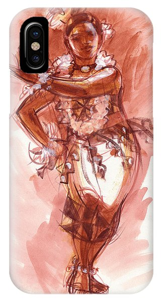 IPhone Case featuring the painting Lelei, Dancer Of Tonga by Judith Kunzle