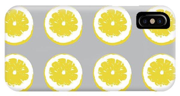 Kitchen iPhone Case - Lemon Slices On Grey- Art By Linda Woods by Linda Woods