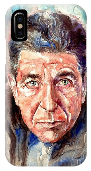 Rolling Stone Magazine iPhone Case - Leonard Cohen Painting by Suzann's Art