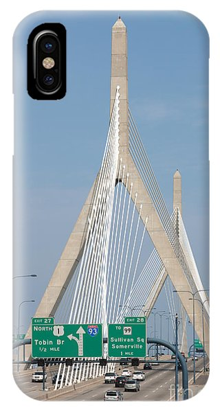 Zakim Bridge iPhone Case - Leonard P. Zakim Bunker Hill Bridge I by Clarence Holmes