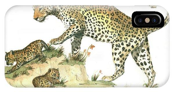 Leopard iPhone Case - Leopard Family by Juan Bosco