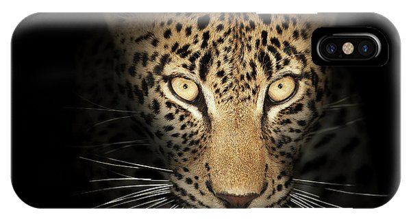 Close-up iPhone Case - Leopard In The Dark by Johan Swanepoel