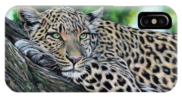 IPhone Case featuring the painting Leopard On Branch by John Neeve