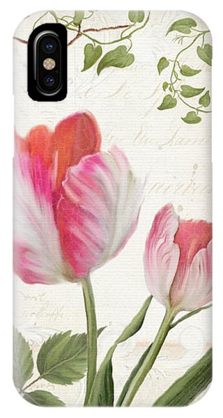 Bunting iPhone Case - Les Magnifiques Fleurs I - Magnificent Garden Flowers Parrot Tulips N Indigo Bunting Songbird by Audrey Jeanne Roberts