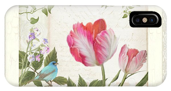 White Tulip iPhone Case - Les Magnifiques Fleurs I - Magnificent Garden Flowers Parrot Tulips N Indigo Bunting Songbird by Audrey Jeanne Roberts