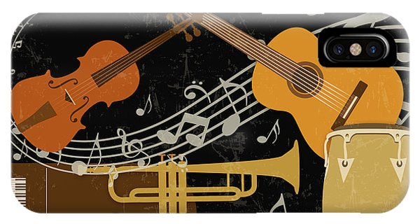 Yellow Trumpet iPhone Case - Let The Music Play-jp3512 by Jean Plout