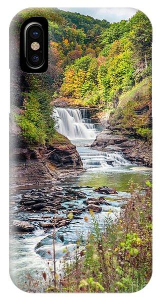 Letchworth Lower Falls In Autumn IPhone Case