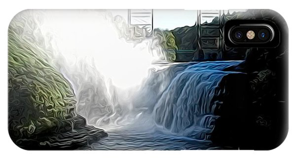 Letchworth State Park Upper Falls And Railroad Trestle Abstract IPhone Case