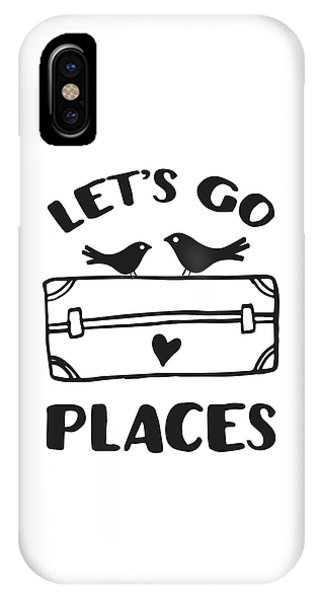 Travel iPhone Case - Let's Go Places Travel Typography Quote by The Random