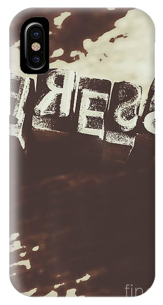 Ink iPhone Case - Letter Press Typeset  by Jorgo Photography - Wall Art Gallery