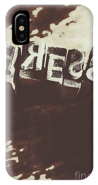 Mechanism iPhone Case - Letter Press Typeset  by Jorgo Photography - Wall Art Gallery