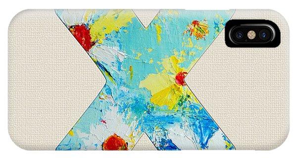 Letter X Roman Alphabet - A Floral Expression, Typography Art IPhone Case